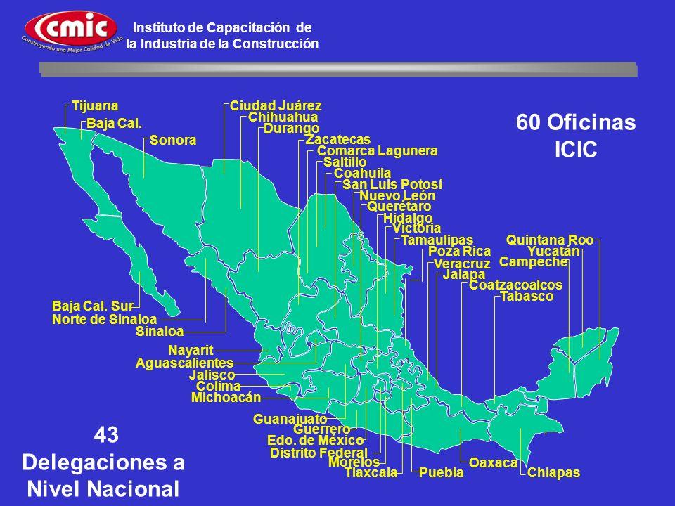 Instituto de Capacitación de la Industria de la Construcción 43 Delegaciones a Nivel Nacional 60 Oficinas ICIC