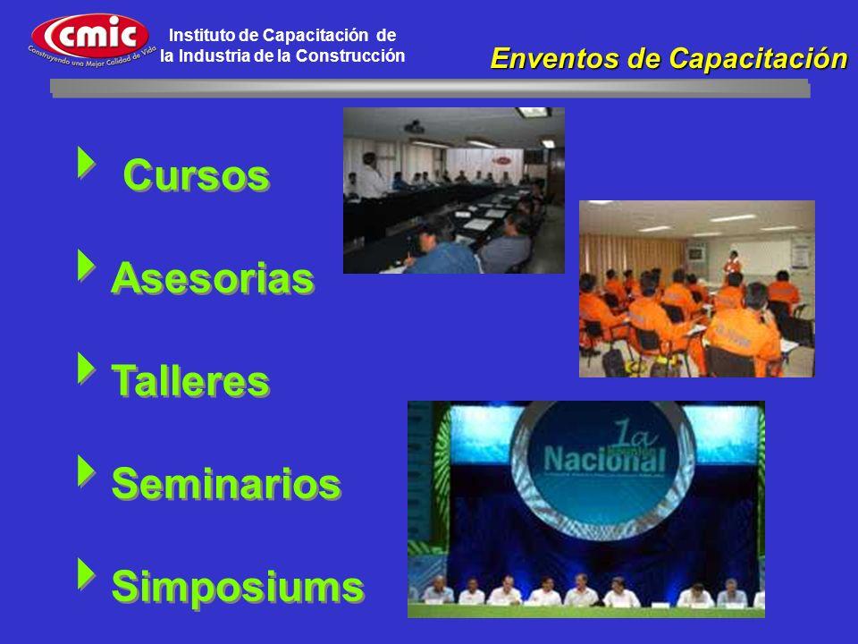 Instituto de Capacitación de la Industria de la Construcción Cursos Asesorias Talleres Seminarios Simposiums Cursos Asesorias Talleres Seminarios Simp