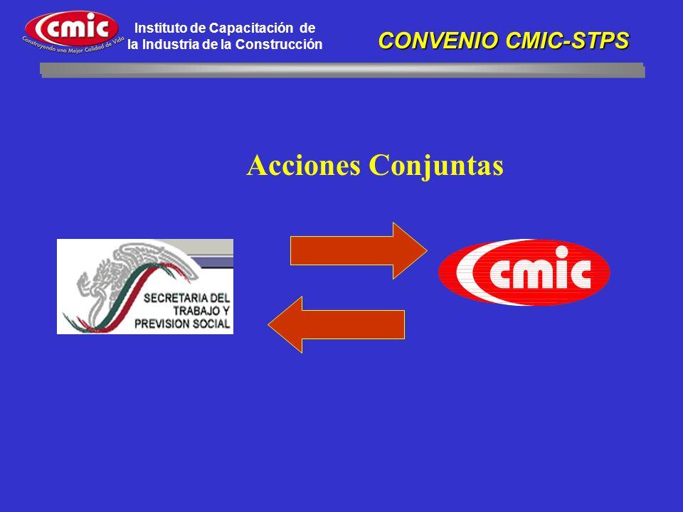 Instituto de Capacitación de la Industria de la Construcción Acciones Conjuntas CONVENIO CMIC-STPS