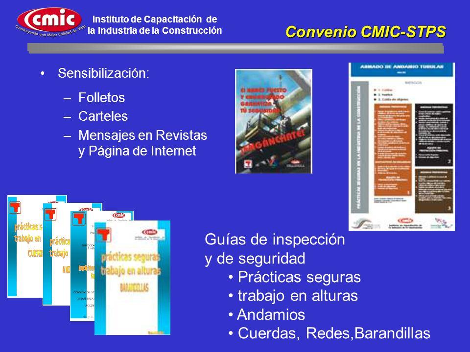 Instituto de Capacitación de la Industria de la Construcción Sensibilización: –Folletos –Carteles –Mensajes en Revistas y Página de Internet Convenio