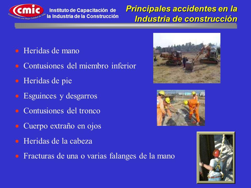 Instituto de Capacitación de la Industria de la Construcción Principales accidentes en la Principales accidentes en la Industria de construcción Herid