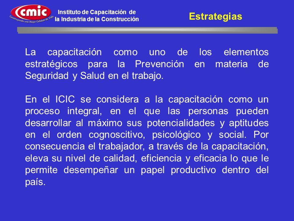 Instituto de Capacitación de la Industria de la Construcción La capacitación como uno de los elementos estratégicos para la Prevención en materia de S