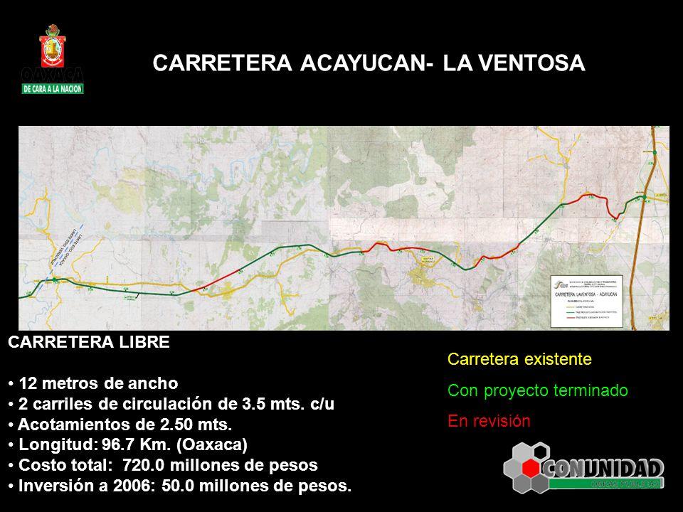 CARRETERA ACAYUCAN- LA VENTOSA CARRETERA LIBRE 12 metros de ancho 2 carriles de circulación de 3.5 mts. c/u Acotamientos de 2.50 mts. Longitud: 96.7 K