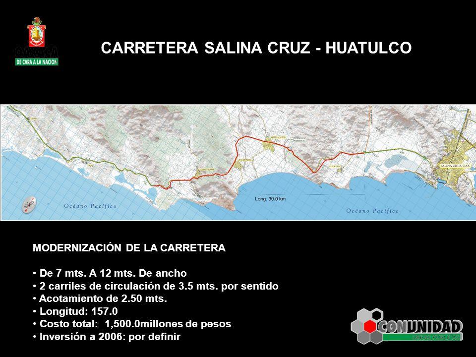 MODERNIZACIÓN DE LA CARRETERA De 7 mts. A 12 mts. De ancho 2 carriles de circulación de 3.5 mts. por sentido Acotamiento de 2.50 mts. Longitud: 157.0