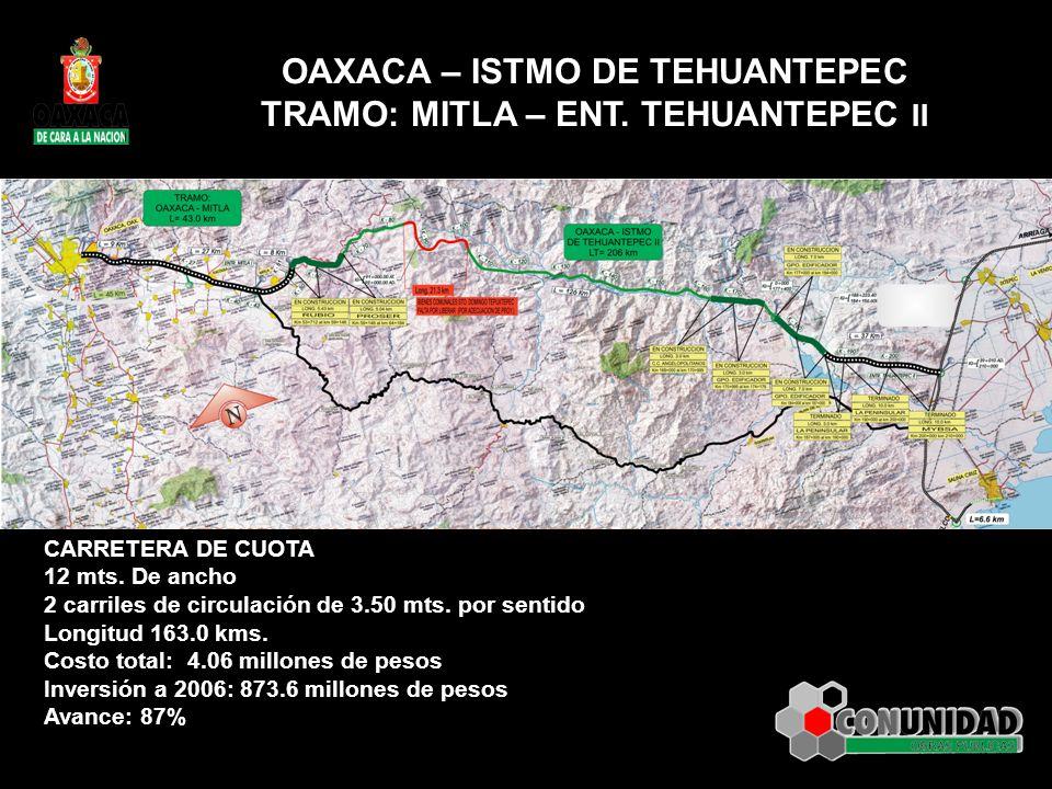 OAXACA – ISTMO DE TEHUANTEPEC TRAMO: MITLA – ENT. TEHUANTEPEC II CARRETERA DE CUOTA 12 mts. De ancho 2 carriles de circulación de 3.50 mts. por sentid