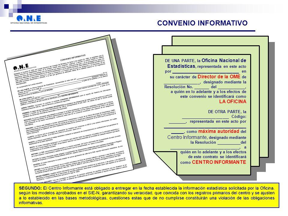 CONVENIO INFORMATIVO DE UNA PARTE, la Oficina Nacional de Estadísticas, representada en este acto por _______________________________ en su carácter de Director de la OME de _________________, designado mediante la Resolución No.
