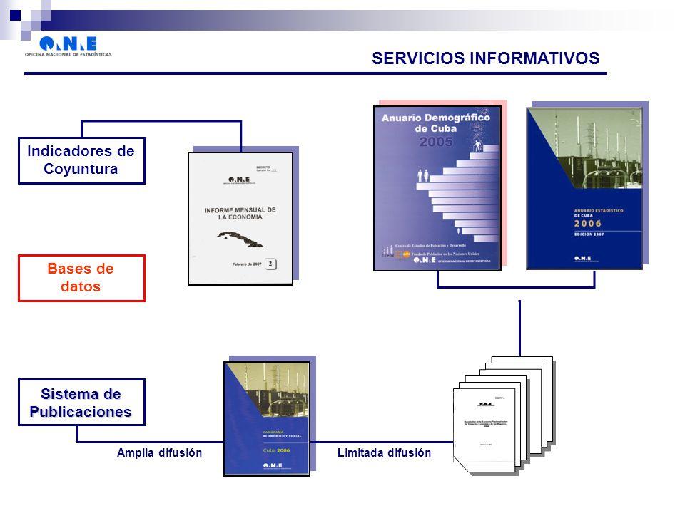 Indicadores de Coyuntura Bases de datos Sistema de Publicaciones SERVICIOS INFORMATIVOS Amplia difusiónLimitada difusión