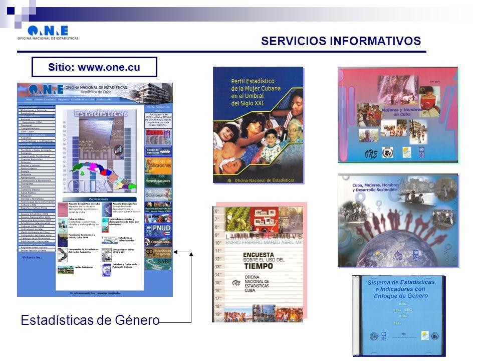 SERVICIOS INFORMATIVOS Sitio: www.one.cu Estadísticas de Género