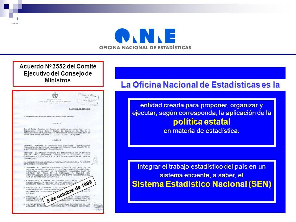 La Oficina Nacional de Estadísticas es la entidad creada para proponer, organizar y ejecutar, según corresponda, la aplicación de la política estatal en materia de estadística.