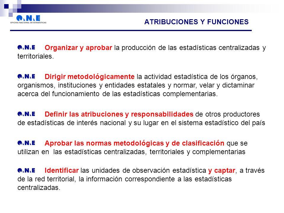 ATRIBUCIONES Y FUNCIONES Organizar y aprobar la producción de las estadísticas centralizadas y territoriales.