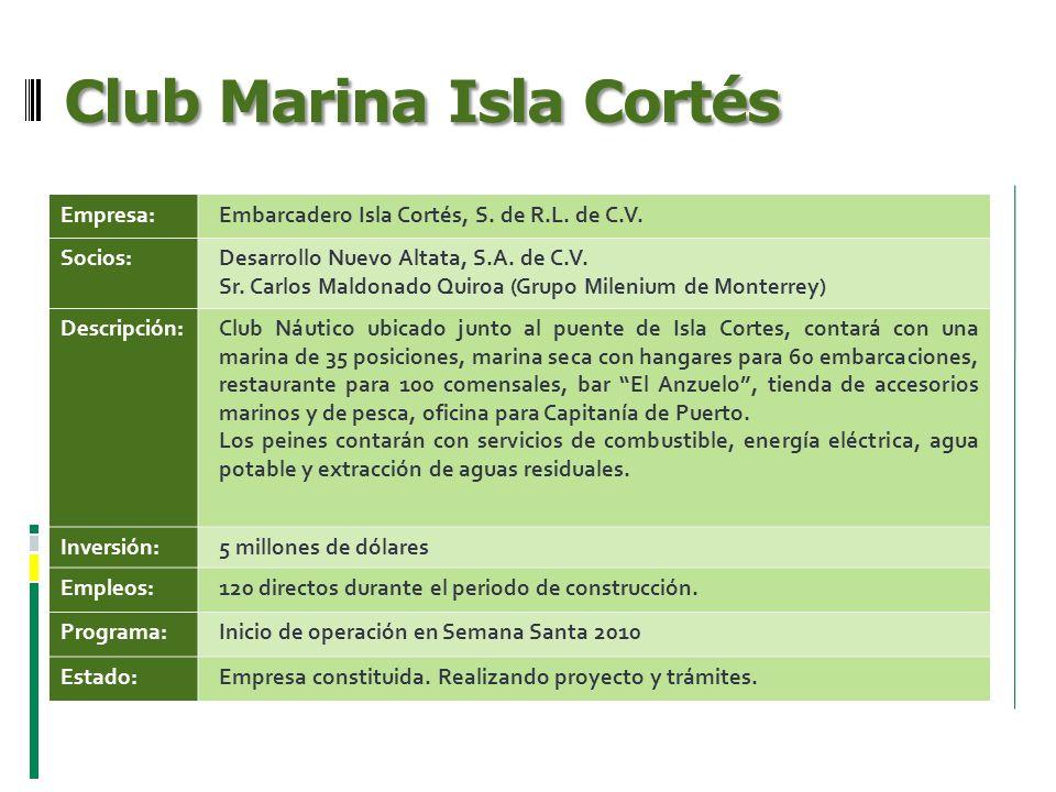 Club Marina Isla Cortés Empresa:Embarcadero Isla Cortés, S. de R.L. de C.V. Socios:Desarrollo Nuevo Altata, S.A. de C.V. Sr. Carlos Maldonado Quiroa (