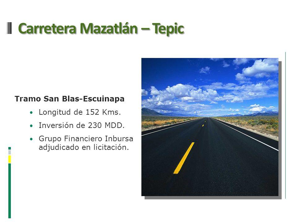 Carretera Mazatlán – Tepic Tramo San Blas-Escuinapa Longitud de 152 Kms. Inversión de 230 MDD. Grupo Financiero Inbursa adjudicado en licitación.