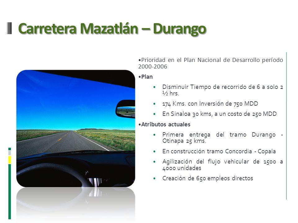 Carretera Mazatlán – Durango Prioridad en el Plan Nacional de Desarrollo período 2000-2006 Plan Disminuir Tiempo de recorrido de 6 a solo 2 ½ hrs. 174