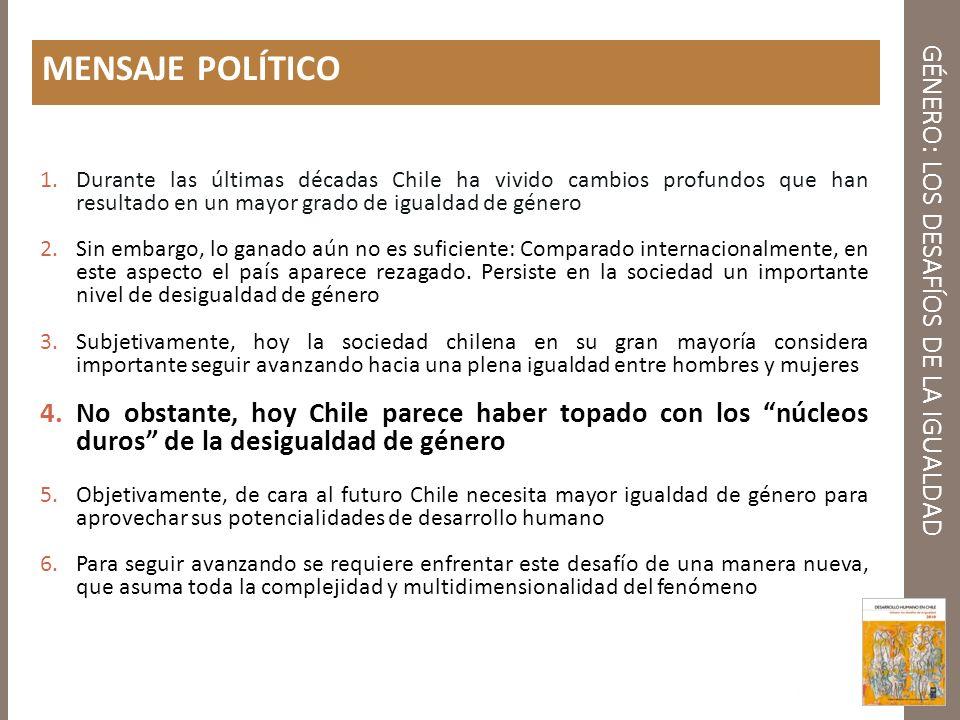GÉNERO: LOS DESAFÍOS DE LA IGUALDAD MENSAJE POLÍTICO 1.Durante las últimas décadas Chile ha vivido cambios profundos que han resultado en un mayor gra