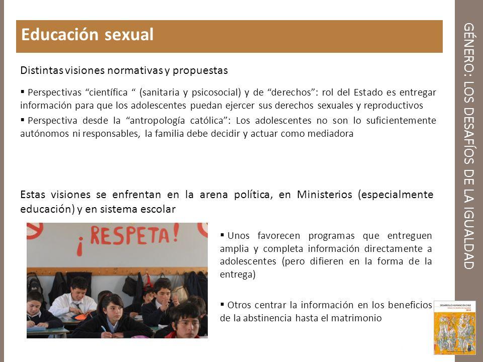 GÉNERO: LOS DESAFÍOS DE LA IGUALDAD Educación sexual Unos favorecen programas que entreguen amplia y completa información directamente a adolescentes