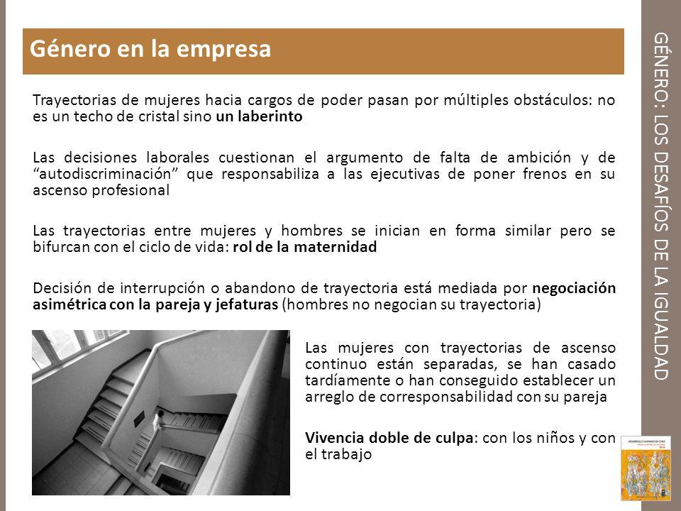 GÉNERO: LOS DESAFÍOS DE LA IGUALDAD Género en la empresa Trayectorias de mujeres hacia cargos de poder pasan por múltiples obstáculos: no es un techo