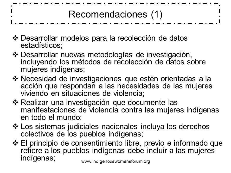www.indigenouswomensforum.org Recomendaciones (2) Relativas a Mujeres Indigenas y violencia Las fuentes de información en la construcción de indicadores para pueblos indigenas, con especial énfasis en las dimensiones de género deben ser mejoradas considerablemente.