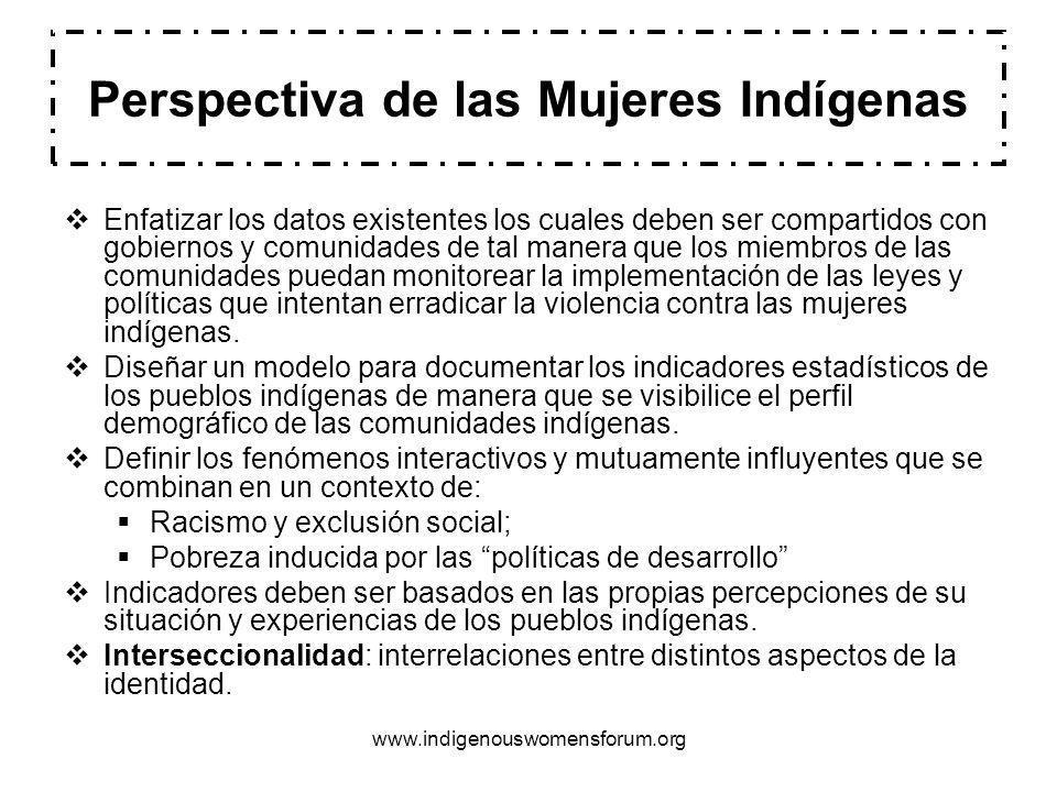 www.indigenouswomensforum.org Perspectiva de las Mujeres Indígenas Enfatizar los datos existentes los cuales deben ser compartidos con gobiernos y comunidades de tal manera que los miembros de las comunidades puedan monitorear la implementación de las leyes y políticas que intentan erradicar la violencia contra las mujeres indígenas.