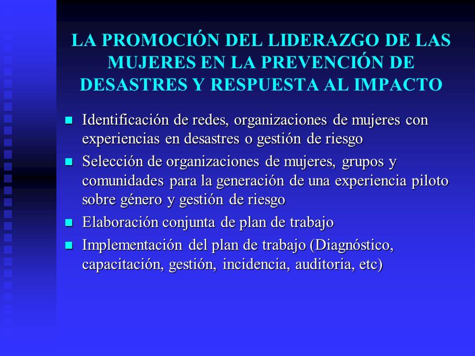 LA PROMOCIÓN DEL LIDERAZGO DE LAS MUJERES EN LA PREVENCIÓN DE DESASTRES Y RESPUESTA AL IMPACTO Identificación de redes, organizaciones de mujeres con