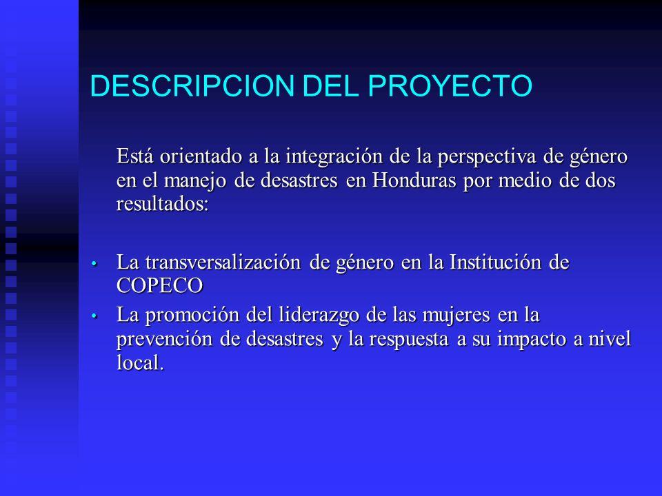 DESCRIPCION DEL PROYECTO Está orientado a la integración de la perspectiva de género en el manejo de desastres en Honduras por medio de dos resultados