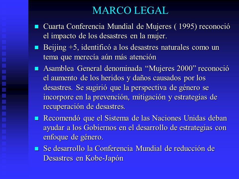 MARCO LEGAL Cuarta Conferencia Mundial de Mujeres ( 1995) reconoció el impacto de los desastres en la mujer. Cuarta Conferencia Mundial de Mujeres ( 1