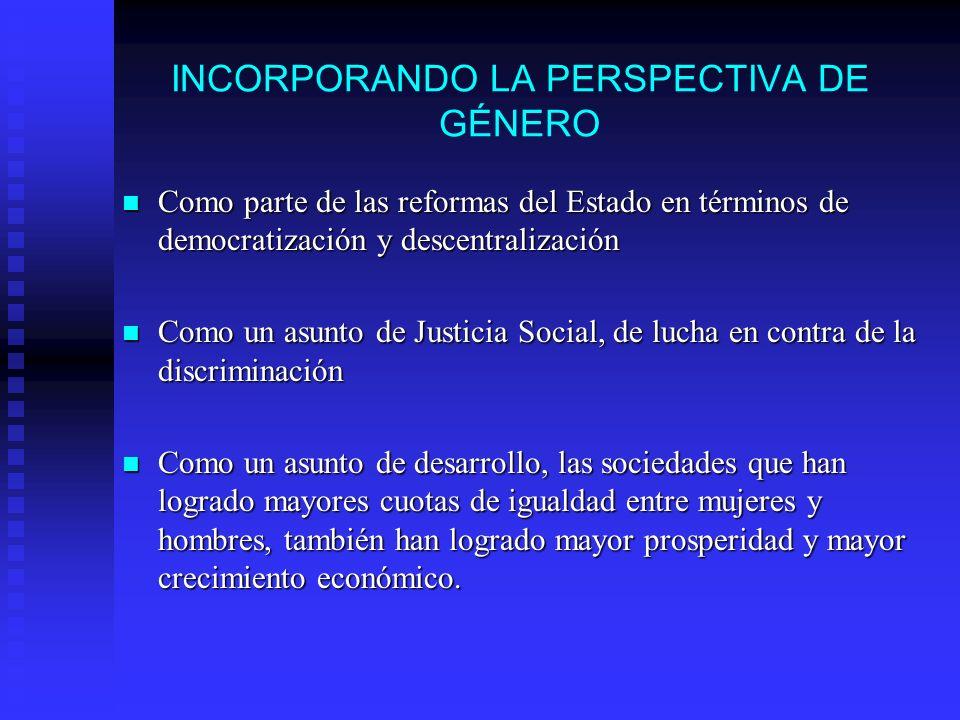 INCORPORANDO LA PERSPECTIVA DE GÉNERO Como parte de las reformas del Estado en términos de democratización y descentralización Como parte de las refor
