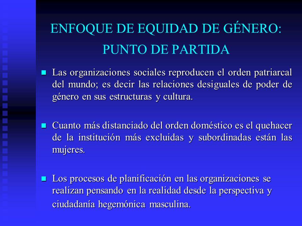 ENFOQUE DE EQUIDAD DE GÉNERO: PUNTO DE PARTIDA Las organizaciones sociales reproducen el orden patriarcal del mundo; es decir las relaciones desiguale