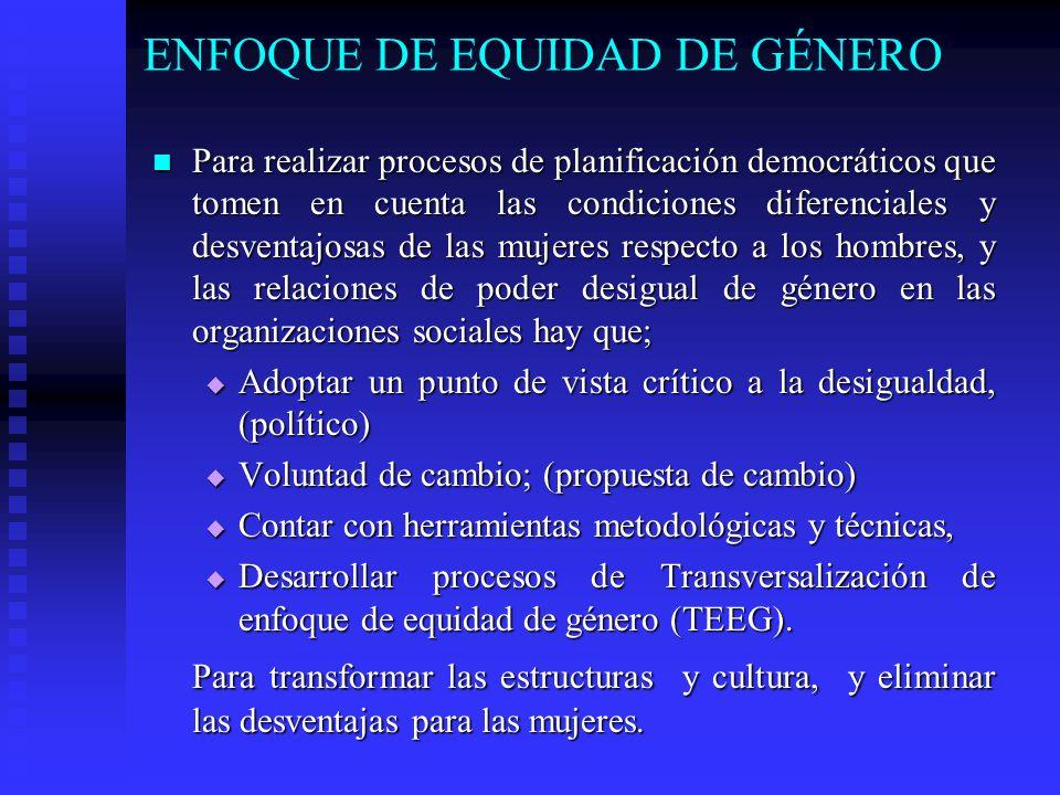 ENFOQUE DE EQUIDAD DE GÉNERO Para realizar procesos de planificación democráticos que tomen en cuenta las condiciones diferenciales y desventajosas de