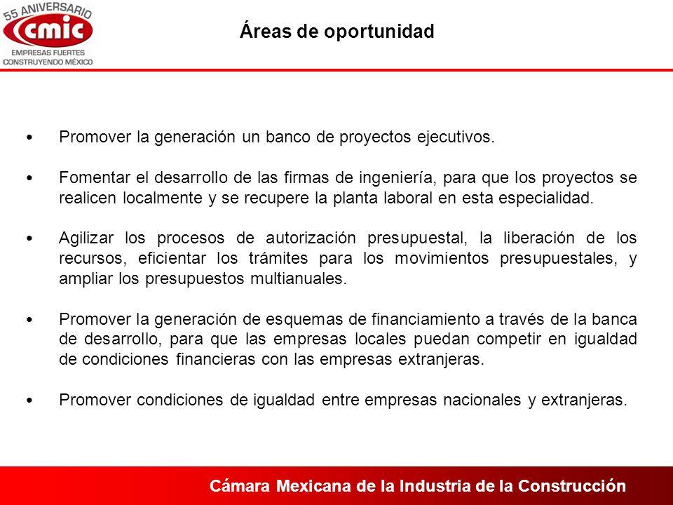 Cámara Mexicana de la Industria de la Construcción Promover la generación un banco de proyectos ejecutivos.