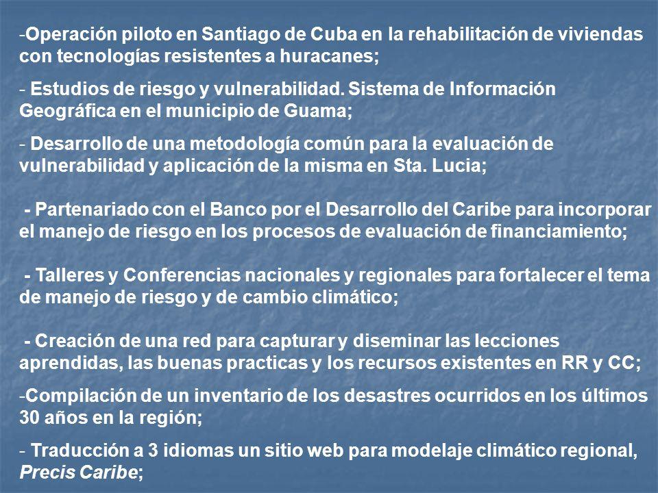 -Operación piloto en Santiago de Cuba en la rehabilitación de viviendas con tecnologías resistentes a huracanes; - Estudios de riesgo y vulnerabilidad