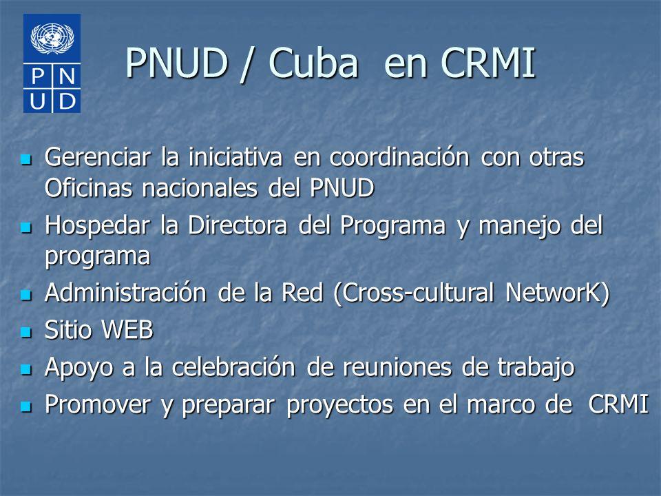 PNUD / Cuba en CRMI Gerenciar la iniciativa en coordinación con otras Oficinas nacionales del PNUD Gerenciar la iniciativa en coordinación con otras O