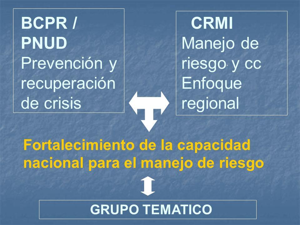 BCPR / PNUD Prevención y recuperación de crisis CRMI Manejo de riesgo y cc Enfoque regional Fortalecimiento de la capacidad nacional para el manejo de