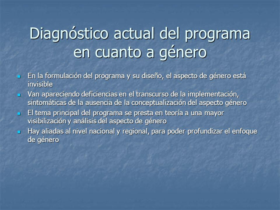 Diagnóstico actual del programa en cuanto a género En la formulación del programa y su diseño, el aspecto de género está invisible En la formulación d