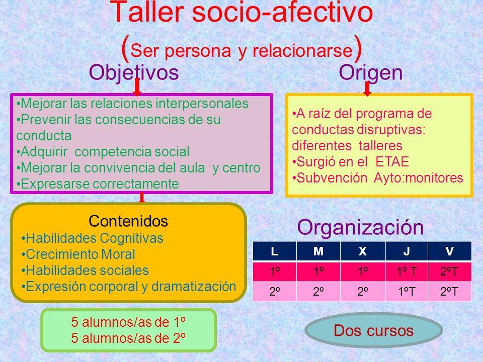 Taller socio-afectivo ( Ser persona y relacionarse ) Objetivos Origen Organización Mejorar las relaciones interpersonales Prevenir las consecuencias d