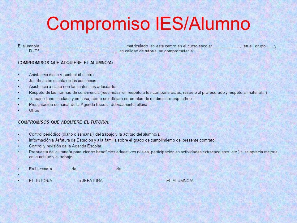 Compromiso IES/Alumno El alumno/a_______________________________________matriculado en este centro en el curso escolar_____________, en el grupo____y
