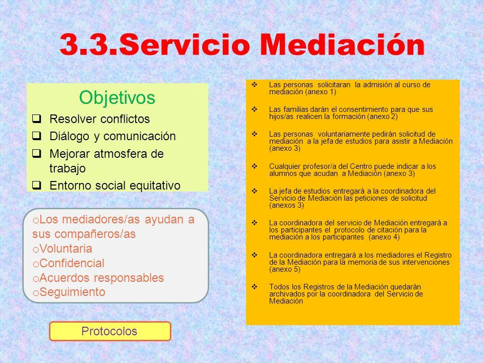 3.3.Servicio Mediación Objetivos Resolver conflictos Diálogo y comunicación Mejorar atmosfera de trabajo Entorno social equitativo Las personas solici