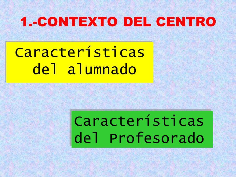1.-CONTEXTO DEL CENTRO Características del alumnado Características del Profesorado