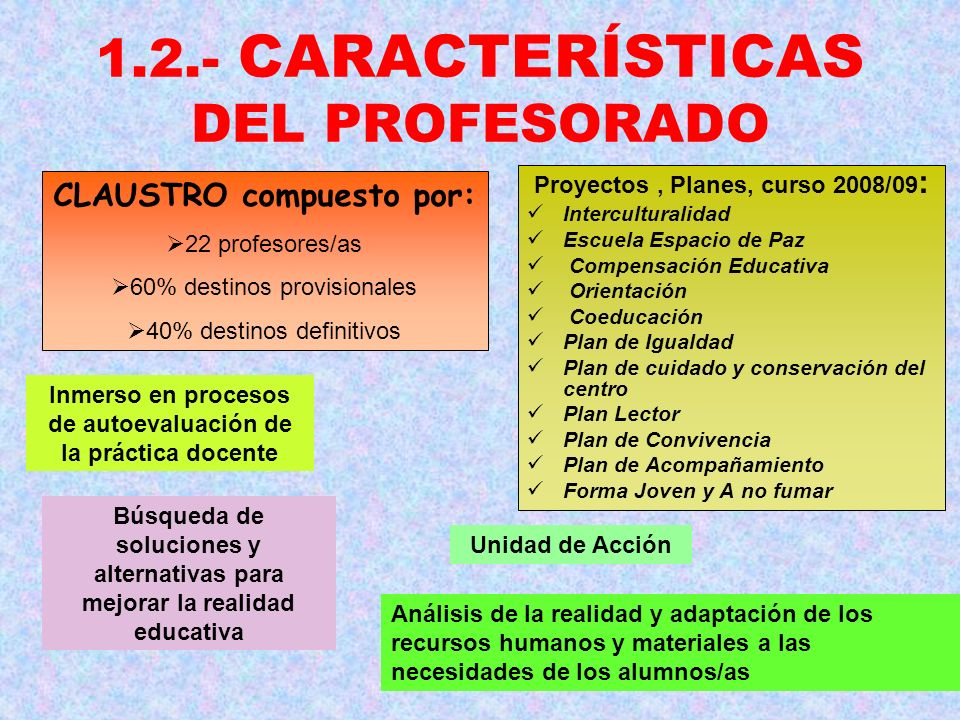 1.2.- CARACTERÍSTICAS DEL PROFESORADO CLAUSTRO compuesto por: 22 profesores/as 60% destinos provisionales 40% destinos definitivos Proyectos, Planes,