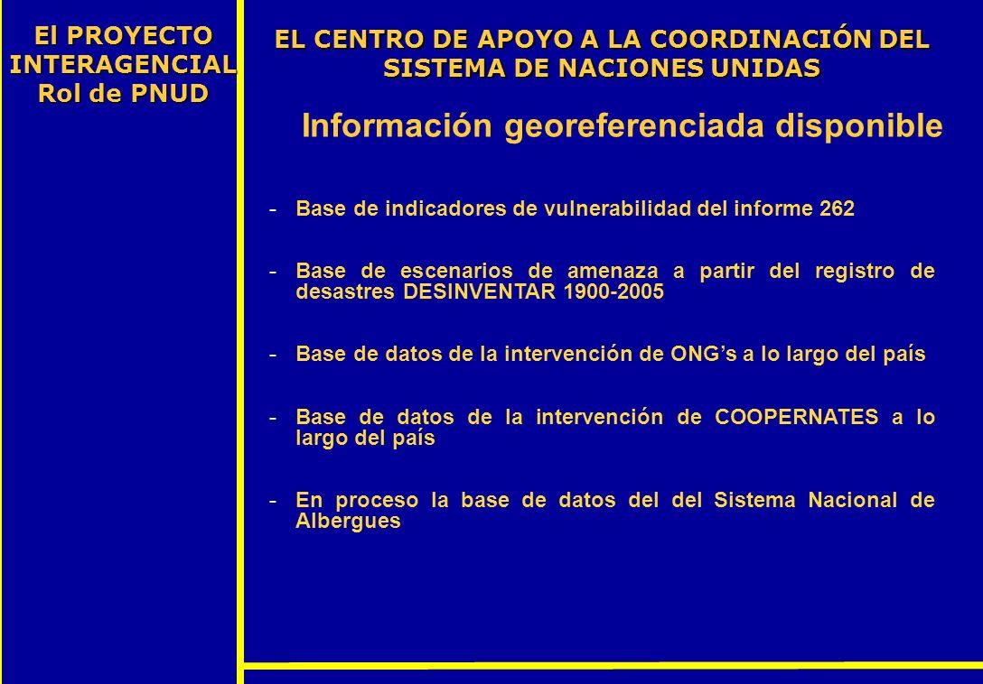 EL CENTRO DE APOYO A LA COORDINACIÓN DEL SISTEMA DE NACIONES UNIDAS El PROYECTO INTERAGENCIAL Rol de PNUD Información georeferenciada disponible -Base