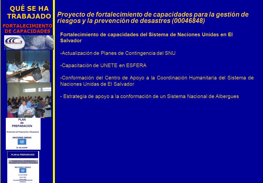 QUÉ SE HA TRABAJADO FORTALECIMIENTO DE CAPACIDADES Proyecto de fortalecimiento de capacidades para la gestión de riesgos y la prevención de desastres