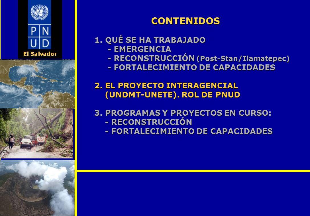 1. QUÉ SE HA TRABAJADO - EMERGENCIA - RECONSTRUCCIÓN (Post-Stan/Ilamatepec) - FORTALECIMIENTO DE CAPACIDADES 2. EL PROYECTO INTERAGENCIAL (UNDMT-UNETE
