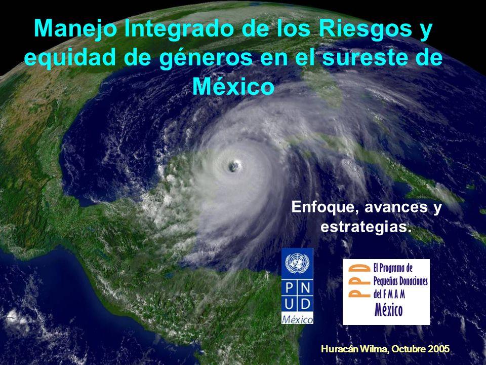 Huracán Wilma, Octubre 2005 Manejo Integrado de los Riesgos y equidad de géneros en el sureste de México Enfoque, avances y estrategias.