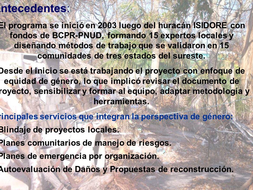 Antecedentes: El programa se inició en 2003 luego del huracán ISIDORE con fondos de BCPR-PNUD, formando 15 expertos locales y diseñando métodos de tra