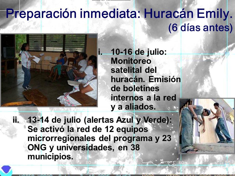 Preparación inmediata: Huracán Emily. (6 días antes) i.10-16 de julio: Monitoreo satelital del huracán. Emisión de boletines internos a la red y a ali