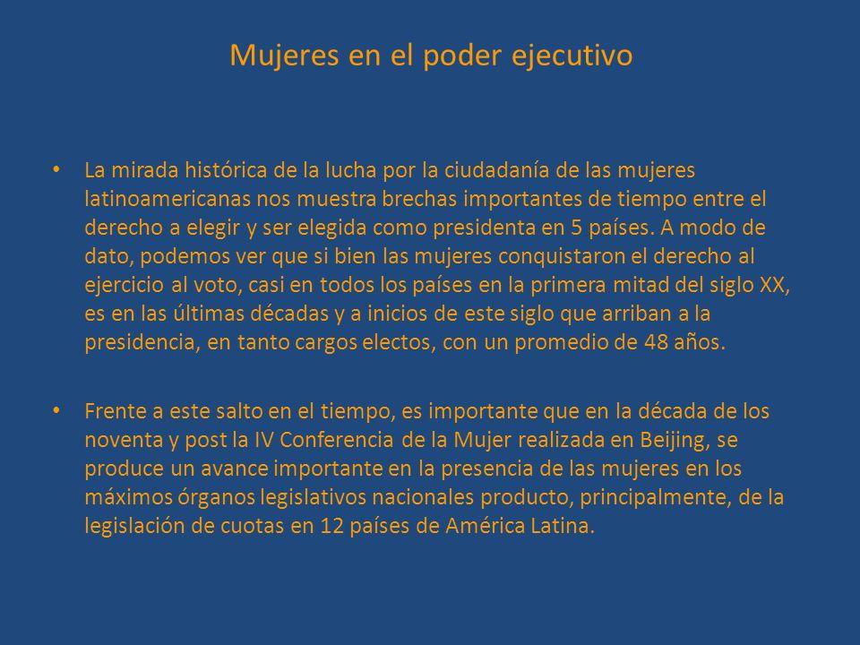 Mujeres en el poder ejecutivo La mirada histórica de la lucha por la ciudadanía de las mujeres latinoamericanas nos muestra brechas importantes de tie