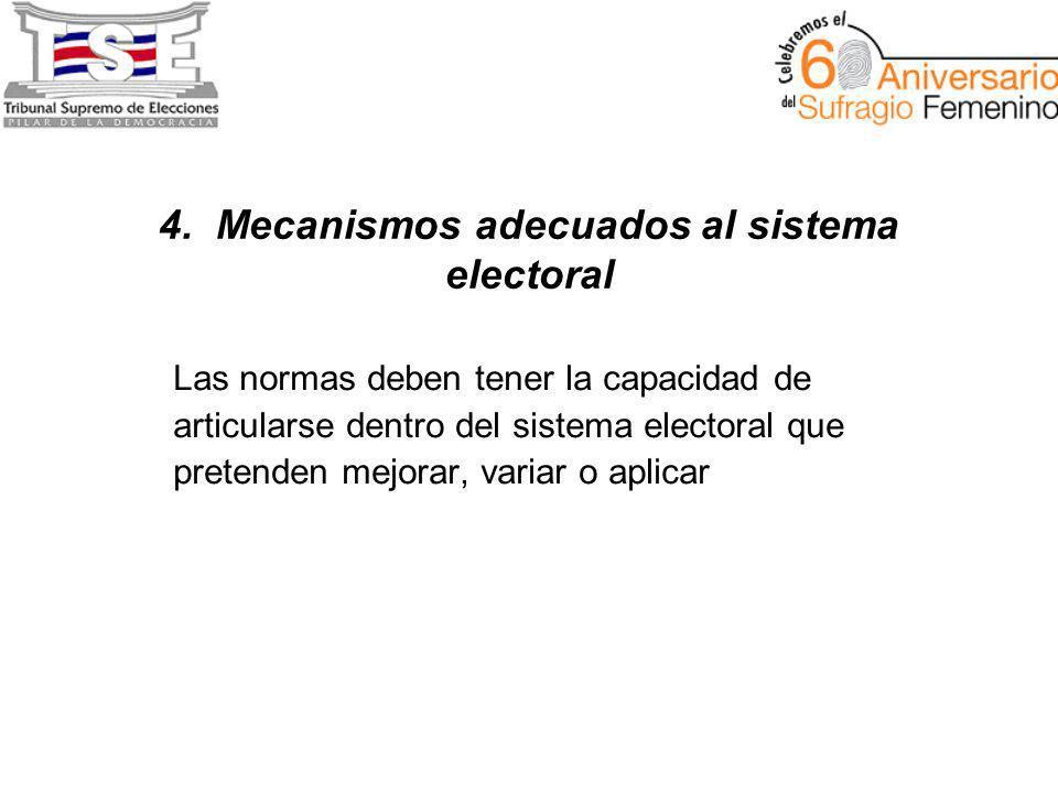 4. Mecanismos adecuados al sistema electoral Las normas deben tener la capacidad de articularse dentro del sistema electoral que pretenden mejorar, va
