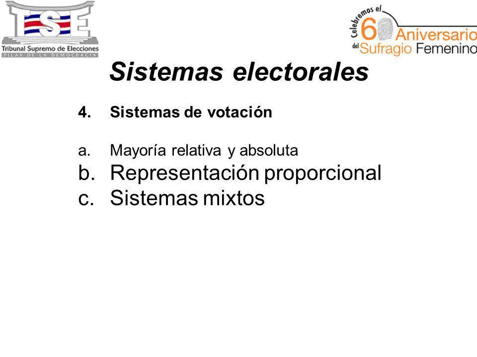 Sistemas electorales 4.Sistemas de votación a.Mayoría relativa y absoluta b.Representación proporcional c.Sistemas mixtos