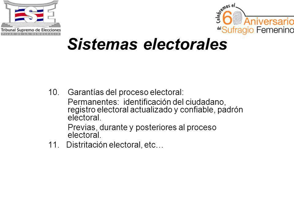Sistemas electorales 10.Garantías del proceso electoral: Permanentes: identificación del ciudadano, registro electoral actualizado y confiable, padrón electoral.