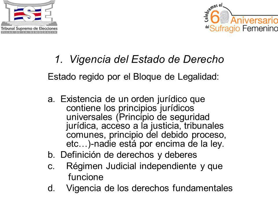 1. Vigencia del Estado de Derecho Estado regido por el Bloque de Legalidad: a.