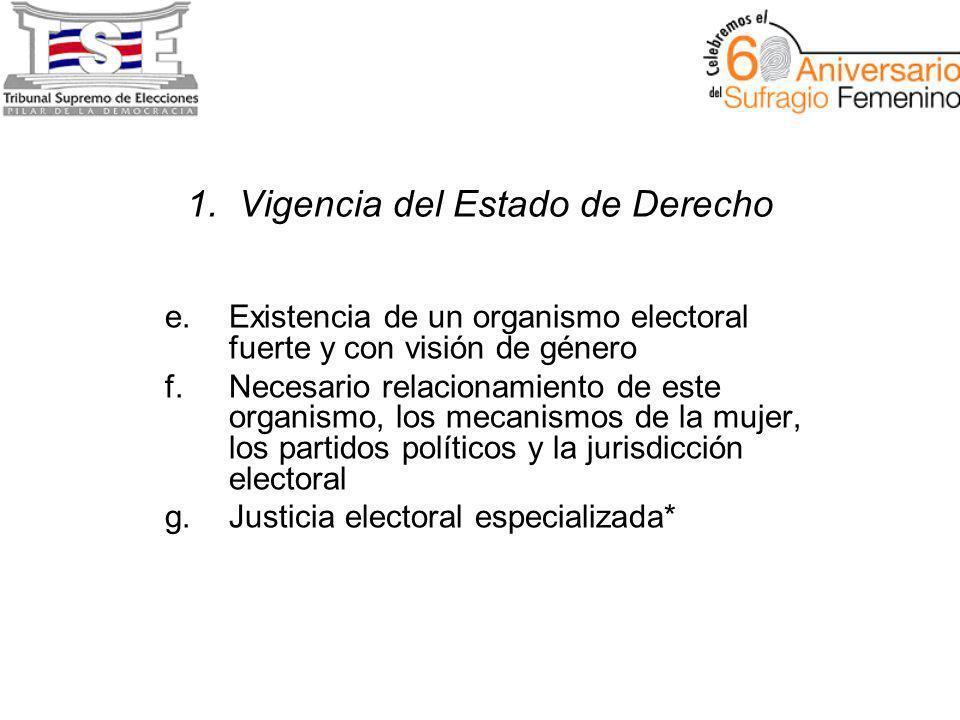 1. Vigencia del Estado de Derecho e.Existencia de un organismo electoral fuerte y con visión de género f.Necesario relacionamiento de este organismo,